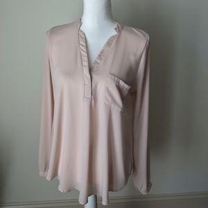 Lush Light Pink V Neck blouse